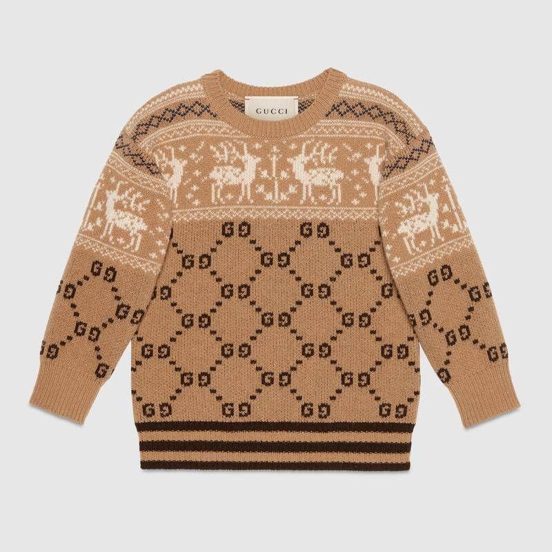 online store 061d8 21992 Gucci Maglione in lana con GG e renne   cintura   Maglioni ...