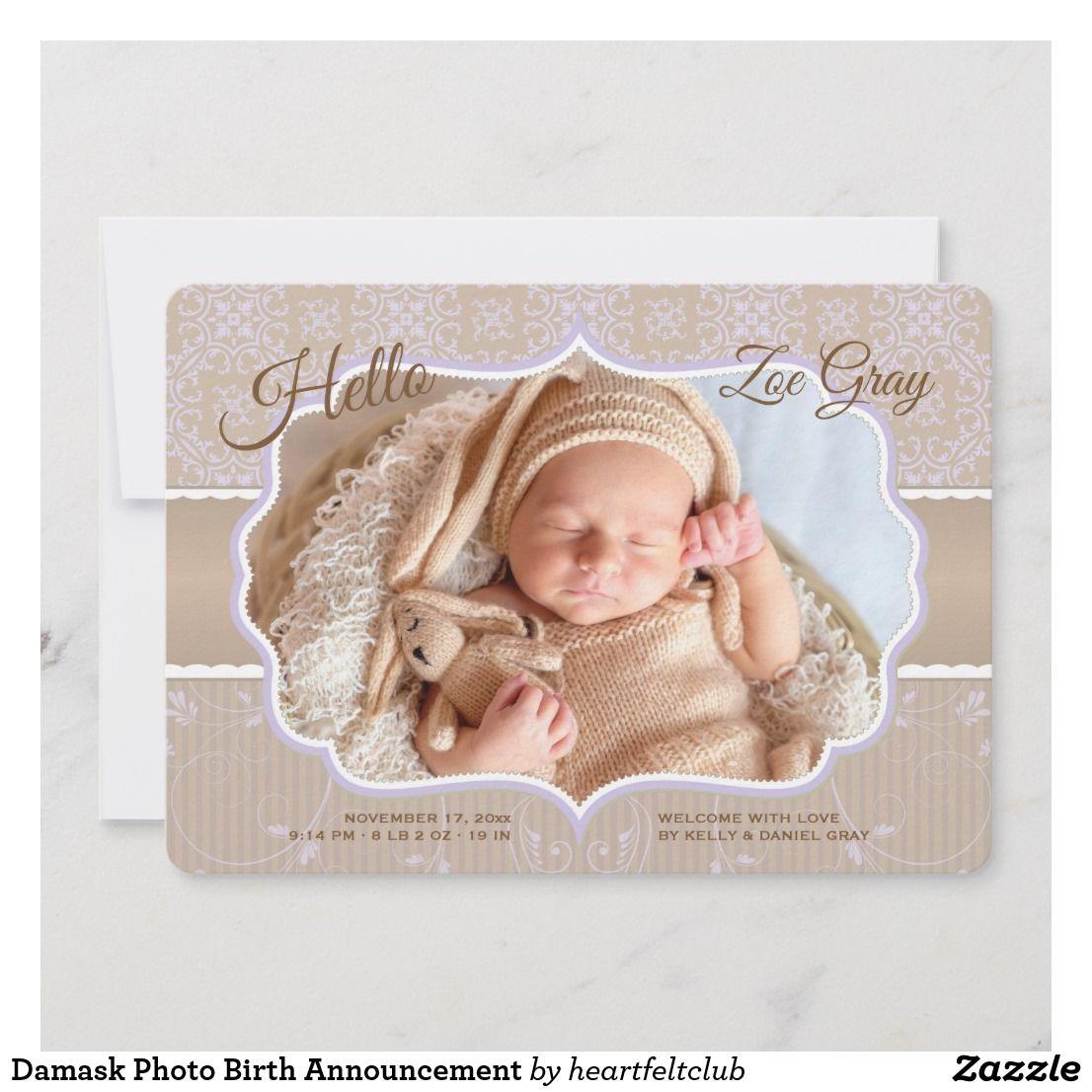 Faire-part de naissance de photo de damassé | Zazzle.fr