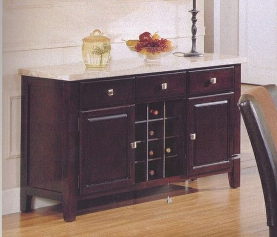 Furniture Design Dining Room Buffets Hutches Britney White Marble Top Side Server With Wine Storage And Drawers