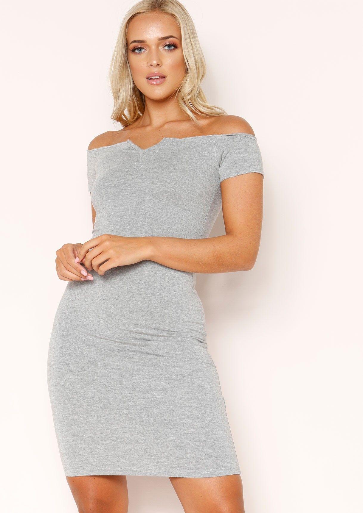 022a17049a Missyempire - Samera Grey Bardot V Dress