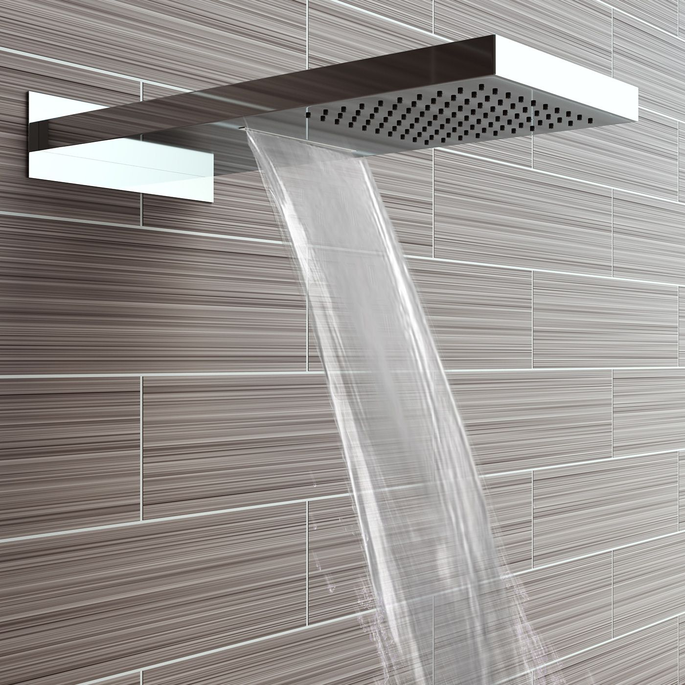 200mm Waterfall & Rainfall Wall Mounted Shower Head & Thermostatic ...