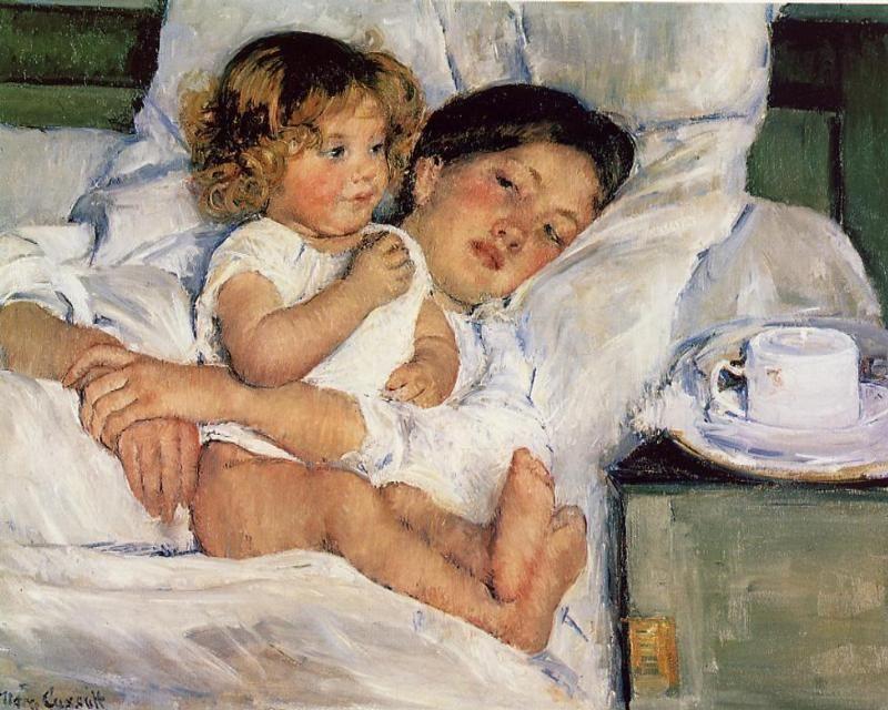 Breakfast in bed.  Mary Cassatt ❤♡♥♡❤♡♥♡❤♡