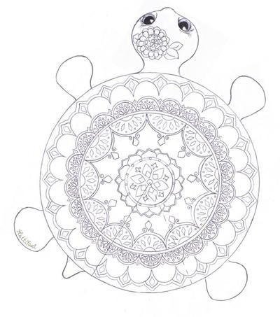 Mandala Turtle Coloring Page #father