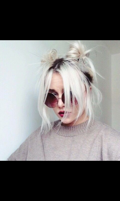 Two Buns On White Hair Hair Styles Grunge Hair Hairstyle