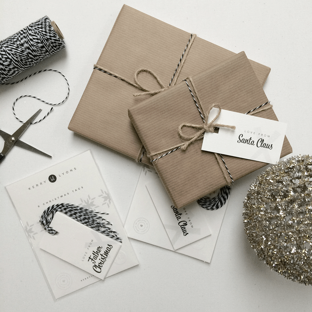 Love from Father Christmas / Santa Claus gift tags – Kerry Lyons Co. #monochrome