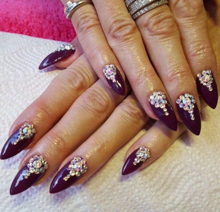 Dark Plum Stiletto Nails With Swarovski Ab Crystal Nail Art Pattern