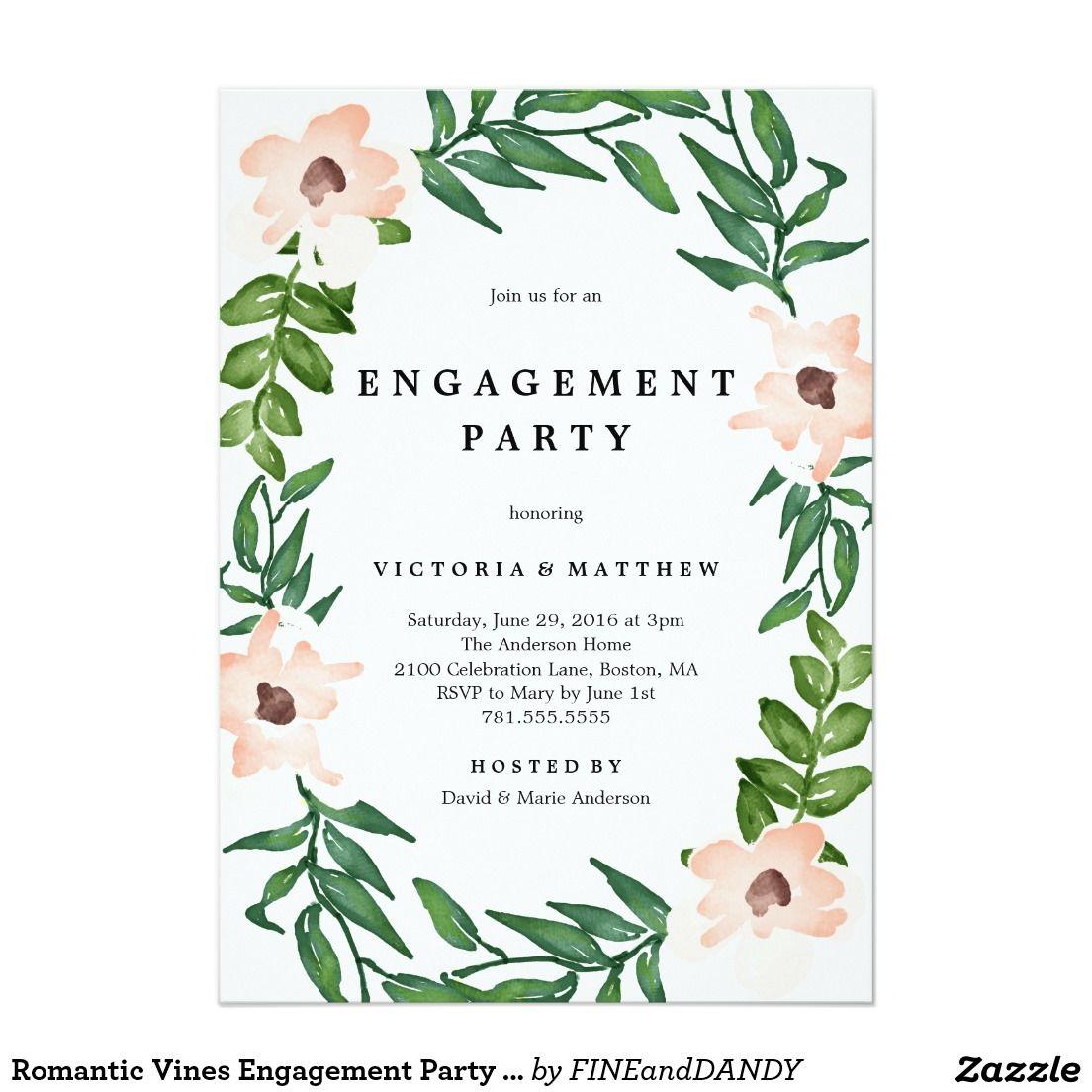 Romantic Vines Engagement Party Invitation   Engagement party ...