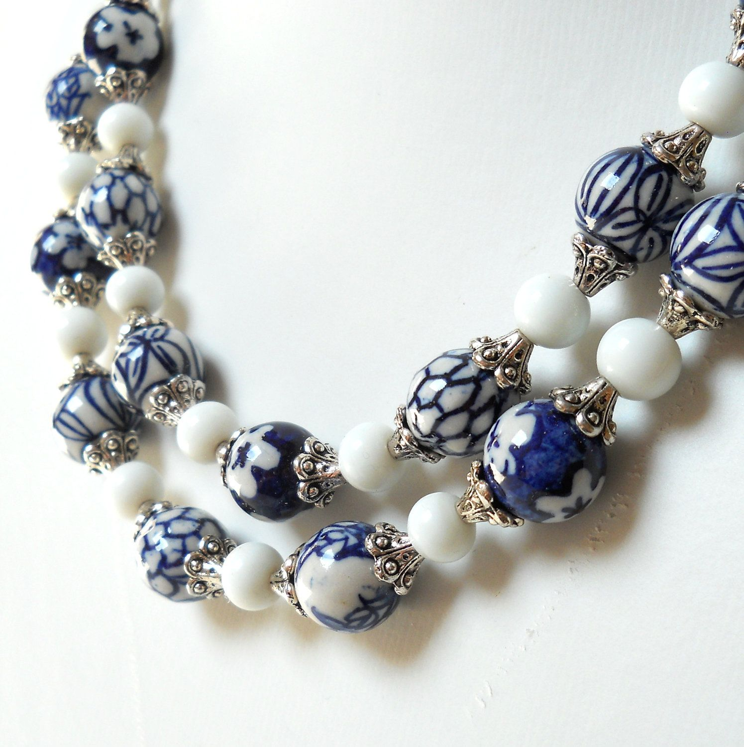 Delft blue necklace, blue and white, Delft blue jewelry ...