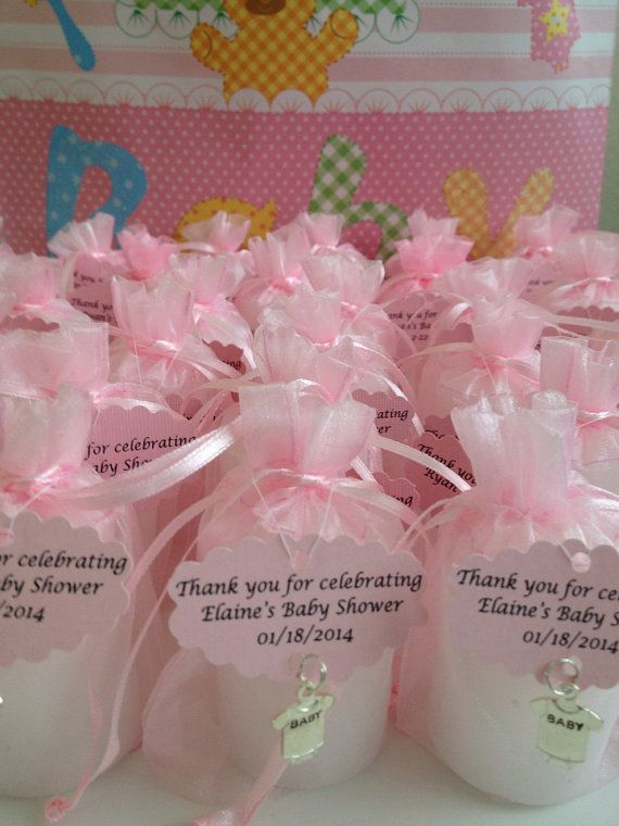 30 baby shower favors votive candles in an organza bag with a charm and tag
