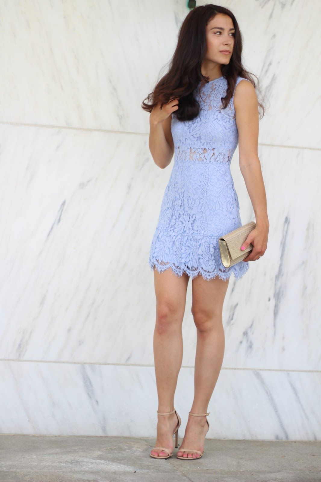 Blue lace dress for an afternoon wedding guest | My Style