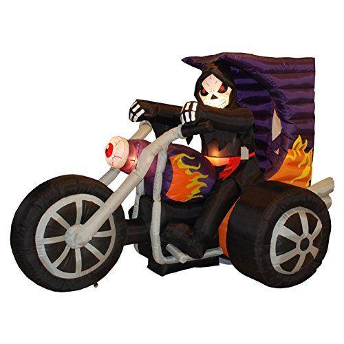 Halloween Inflatable Skeleton on Motorcycle Decoration Outdoor - outdoor inflatable halloween decorations