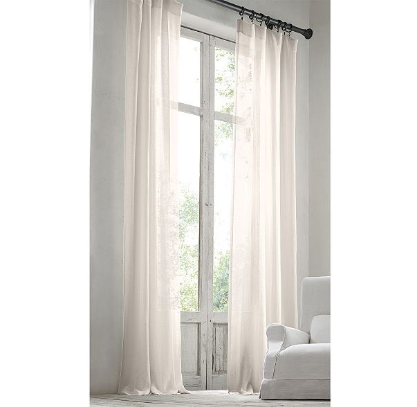 RH's Stonewashed Sheer Linen Drapery:Airy, lightweight linen is stonewashed to give it a relaxed softness and graceful fluidity. The sheer, unlined fabric softly filters light.