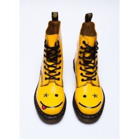 Smiley face doc martins brand new never worn Size 6 never worn Dr. Martens Shoes Lace Up Boots