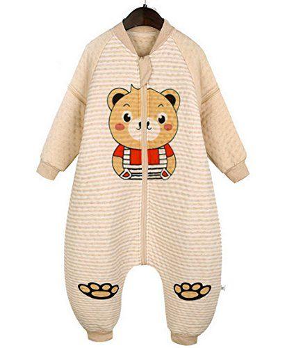 Little Kids Boys Girls Organic Cotton Warm Long Sleeve Bear Print Zip Up Sleeping Bag With