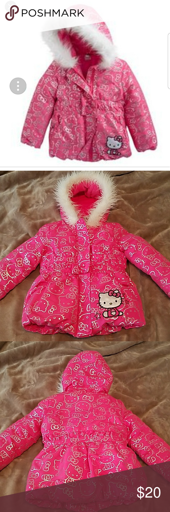 77839dec6 Kids Pink Hello Kitty puffer coat, size 4 Like New Hello Kitty puffer coat,  size 4, pink with silver decals and fur-lined hood. Warm fleece lined  inside.