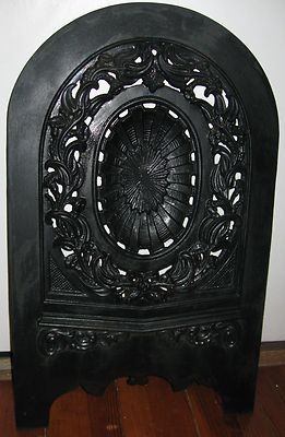 Stunning Antique Victorian Ornate Cast Iron Fireplace Cover Recessed On Ebay Cast Iron Fireplace Fireplace Cover Wrought Iron Furniture