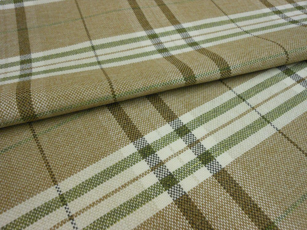 MODERN TARTAN PLAID TAN BROWN OLIVE GREEN & CREAM Upholstery ...
