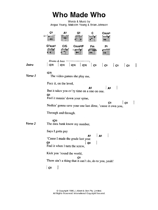 Who Made Who By Acdc Guitar Chordslyrics Guitar Instructor