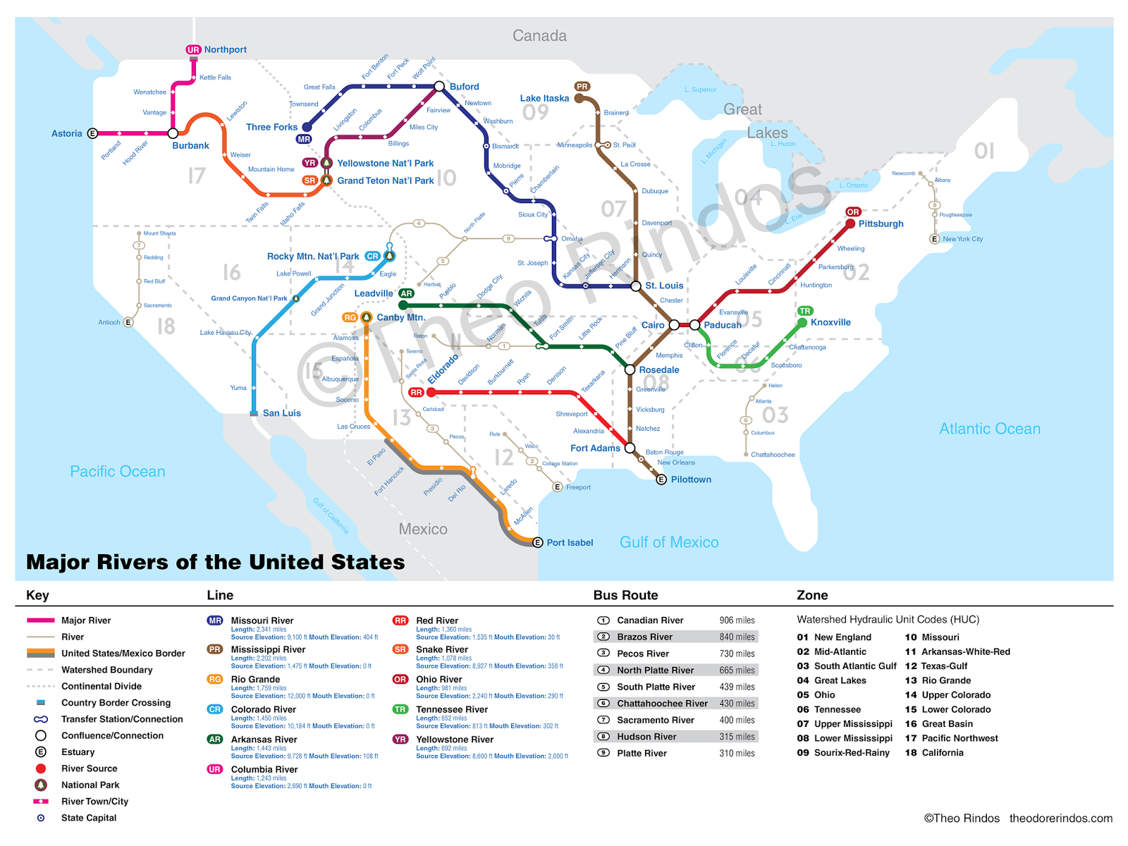 The Rivers of the United States as a Subway Map Maps