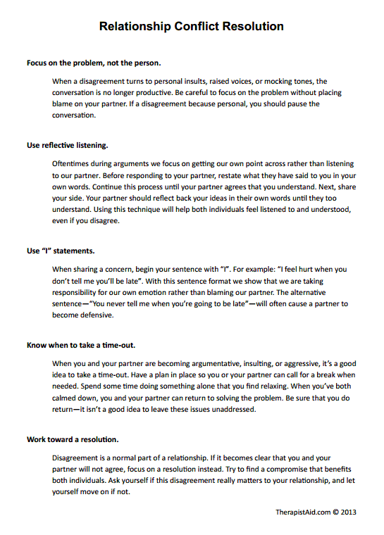 Relationship Conflict Resolution Preview Psychology – Relationship Worksheets