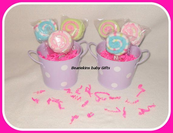 SIX Baby Washcloth Lollipops With Decorative Tin Pail by care72, $36.00
