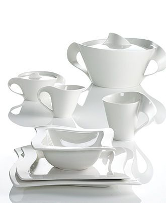 Dinnerware New Wave Collection Dinnerware Sets White