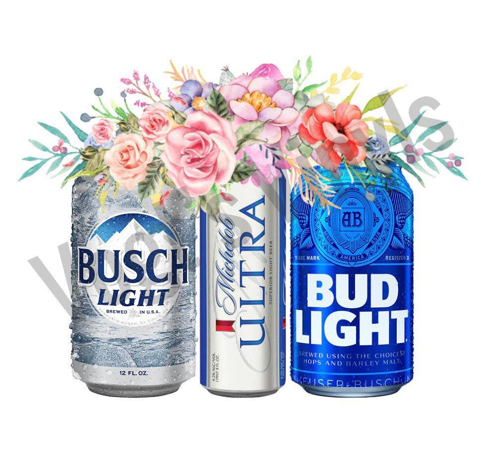 Floral Beer Cans PNG File Busch Light Ultra Bud Light