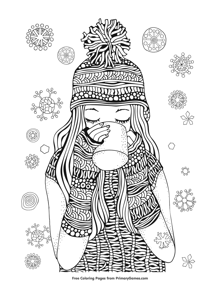 Winter Coloring Page Girl Drinking