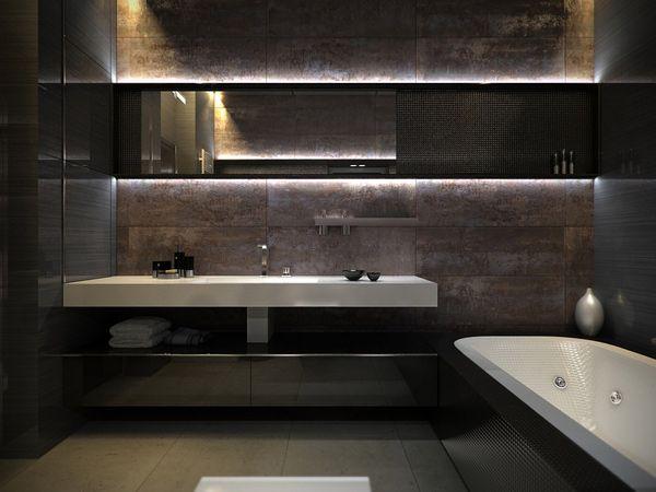 Kleines Badezimmer Modern Gestalten Mit Naturstein Badezimmer ... Modernes Badezimmer Designer Badspiegel