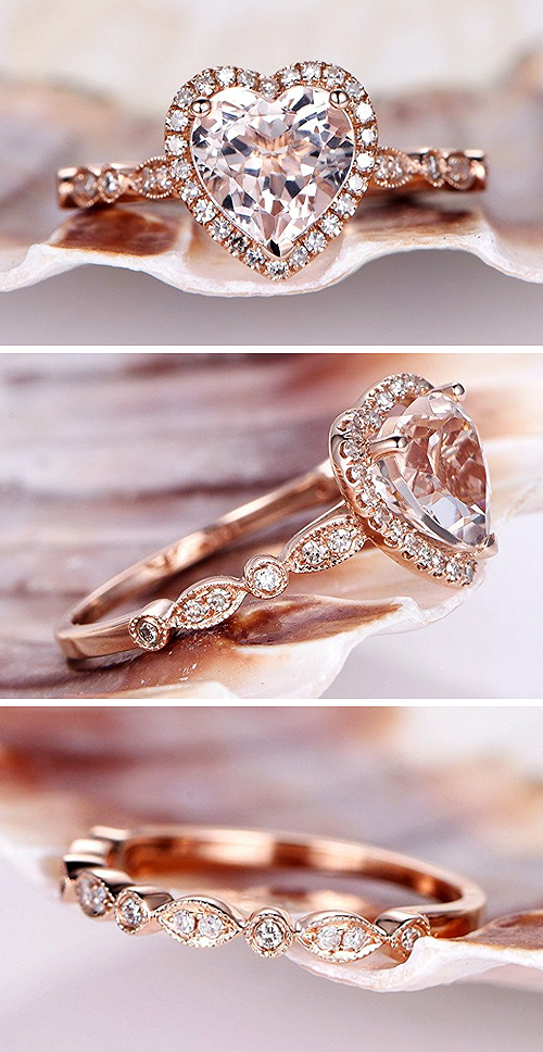 MYRAYGEMengagement ring 2pcs Pink Morganite Jewelry Set8mm Heart