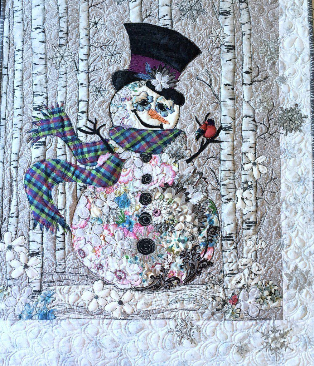 Snowman quilt by Leslie McNeil   Creative Collage class at ... : snowman quilts - Adamdwight.com