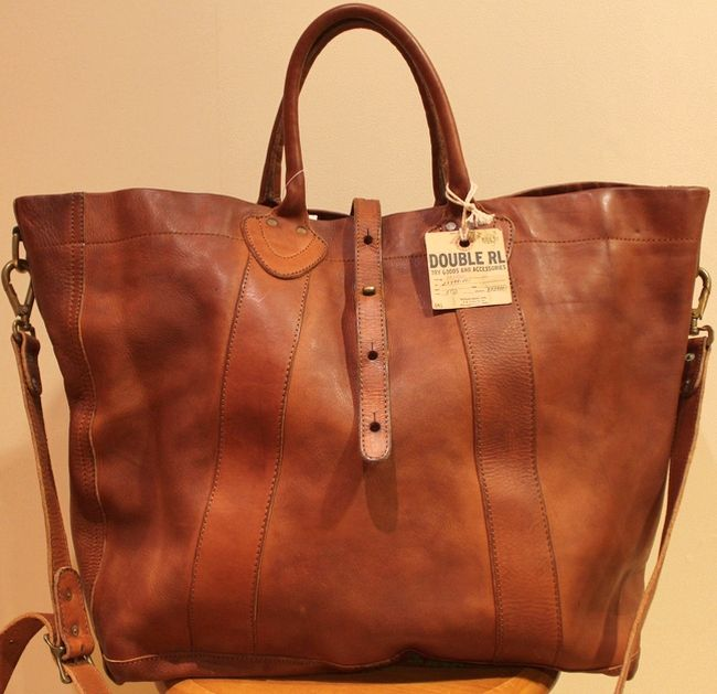 Product made in RRL   double are L vintage leather tote bag brown Italy 1f801ba231265