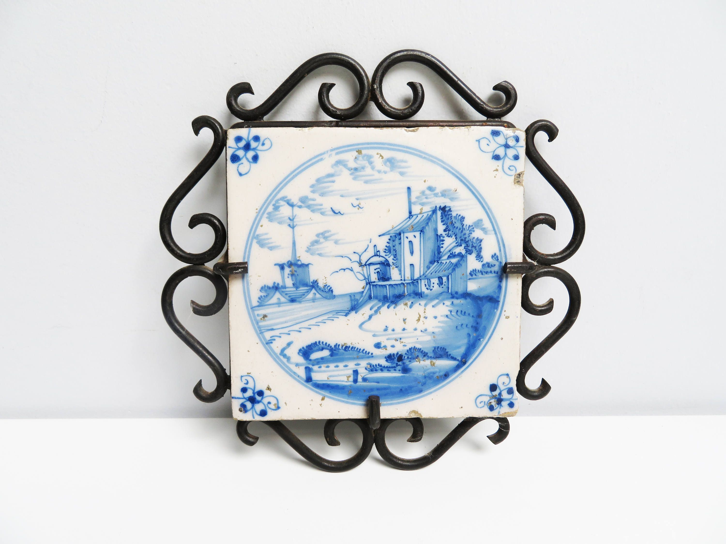 Antique 1800s ceramic tile delft tile ceramic trivet dutch blue antique 1800s ceramic tile delft tile ceramic trivet dutch blue white landscape church house kitchen tile handpainted wrought iron frame dailygadgetfo Image collections