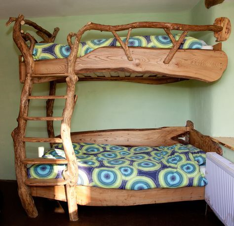 The Mud and Wood bunk beds, made by Colin Ritchie, from windfall trees (
