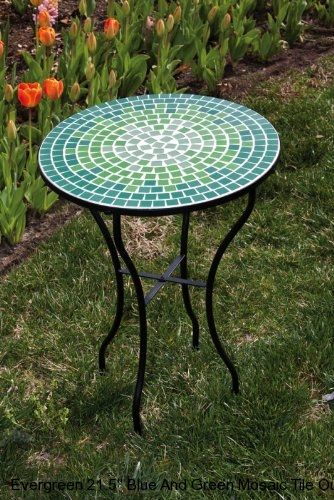High Quality Blue And Green Tile Mosaic Outdoor Round Patio Garden Side Table
