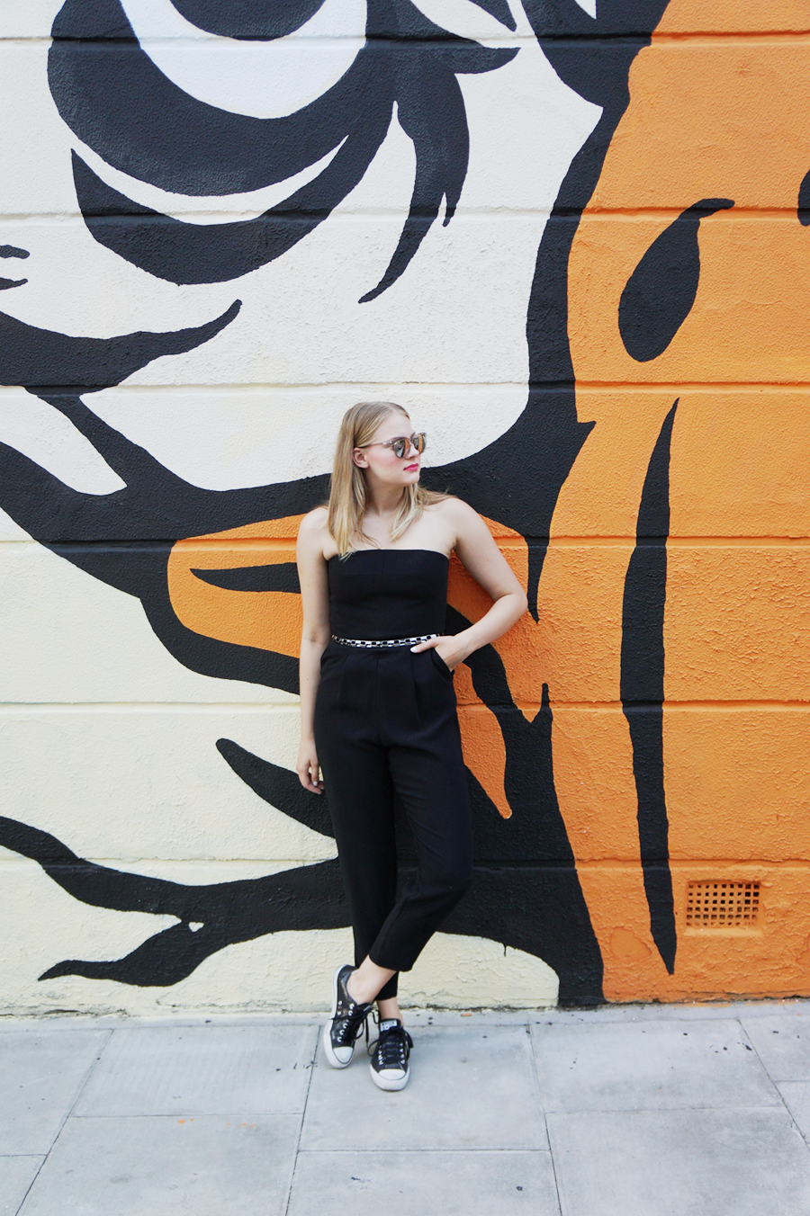 Sport luxe weekend outfit with a little black jumpsuit from topshop and le specs halfmoon magic sunglasses | comme des filles