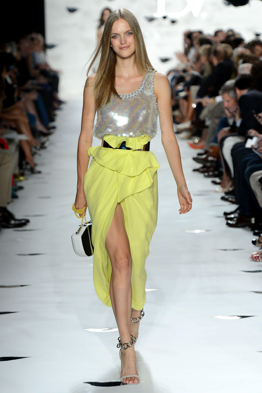 Super Yellow skirt at @Diane von Furstenberg #MBFW