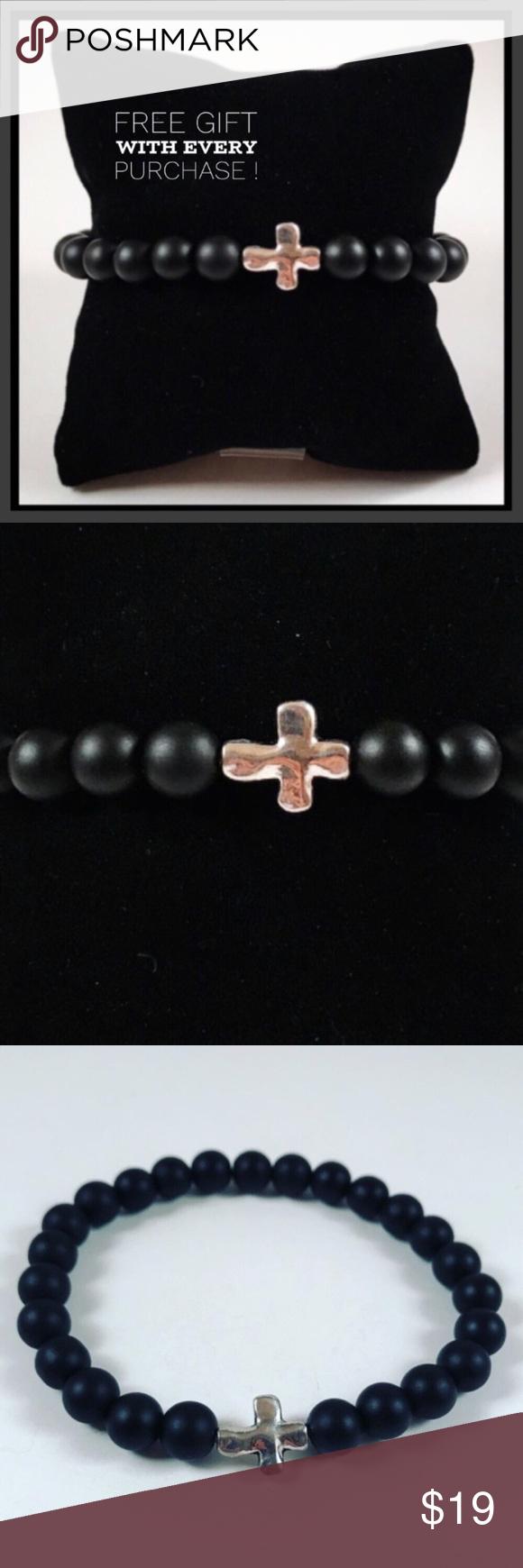 Men onyx silver plated cross beaded bracelet boutique men bead