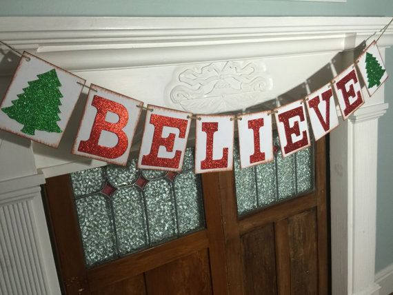 Believe Banner Christmas Believe Sign Rustic by IfIWereBanners
