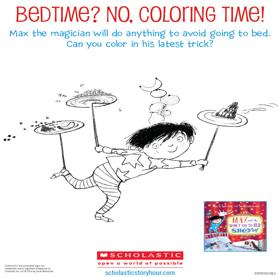MAX AND THE WON'T GO TO BED SHOW BEDTIME COLORING SHEET!