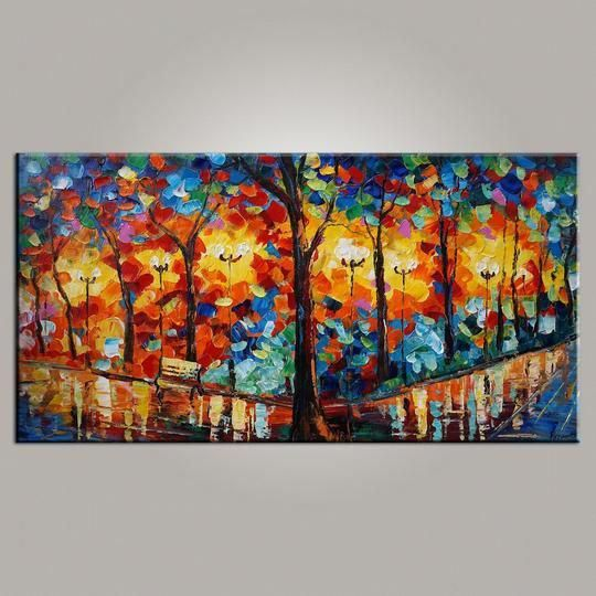 Forest Park Painting, Canvas Art, Living Room Wall Art, Modern Art, Painting for Sale, Contemporary Art, Abstract Art is part of Living Room Art Abstract - This is a wonderful colorful painting direct from the artist  We use only highest quality Winsor & Newton art materials and painted on acid free museum quality canvas  Painting Size 20x40inches (about 50x100cm) 24x48inches (about 60x120cm) 28x56inches (about 70x140cm) Edges are painted and ready to hang  Thanks fo