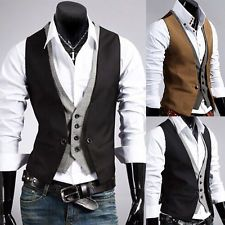Men Formal Office Wrok Casual Suit Tuxedo Double Layered Slim Fit Waistcoat Vest