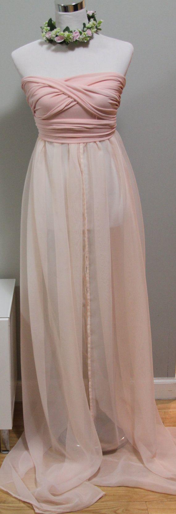 Infinity Maternity Gown, Photo Prop, jersey and chiffon blush pink ...