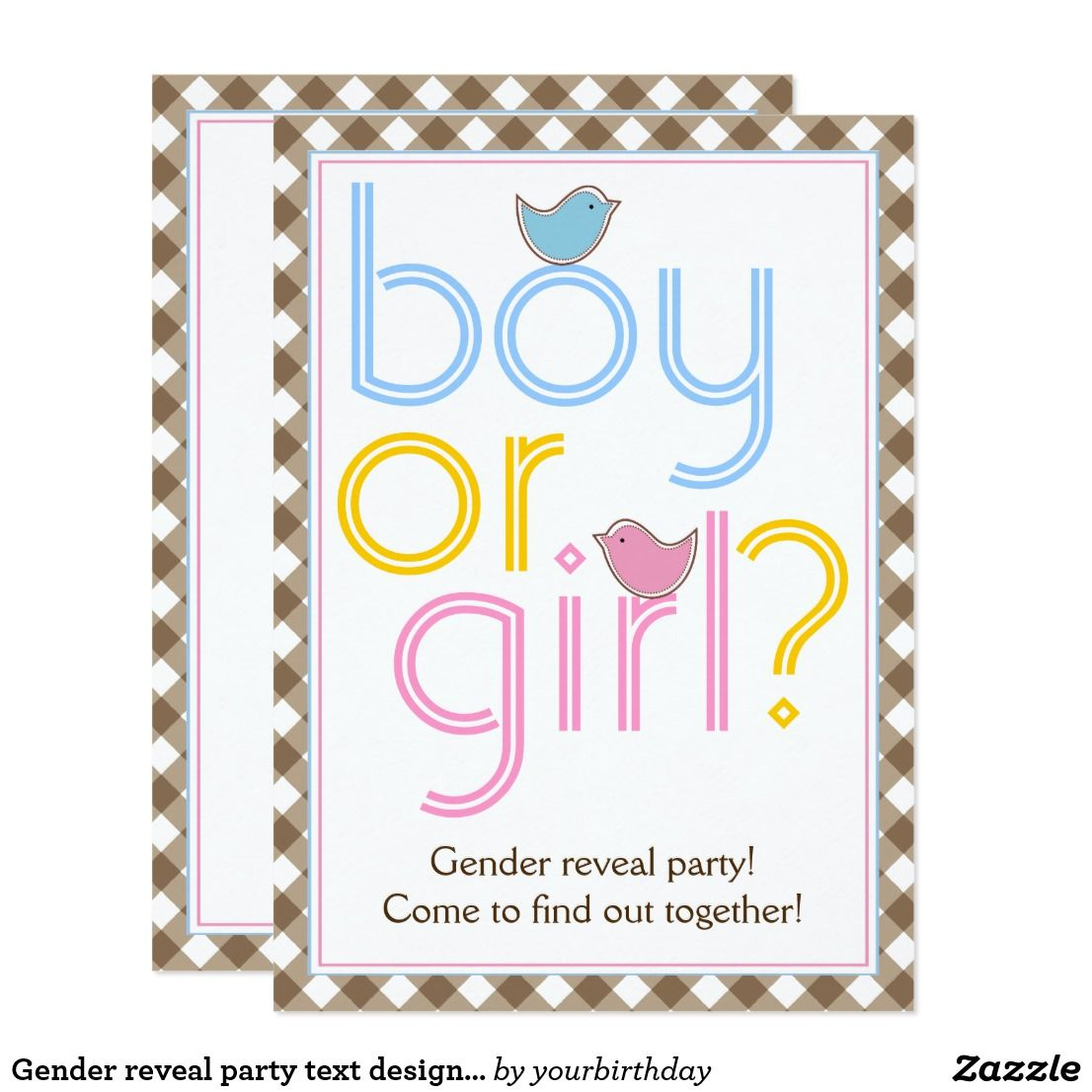 Baby Shower Karte Text.Gender Reveal Party Text Design With Cute Birdies Invitation