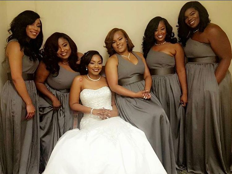 Shruthi In A Dreamy One Shoulder Pronovias Dress: Charcoal Gray Bridesmaids In WHITE By Vera Wang One