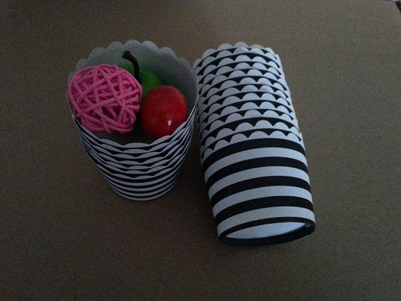 50pcs Black White Horizontal Stripes Paper by MrGlassesSweetParty, $7.00