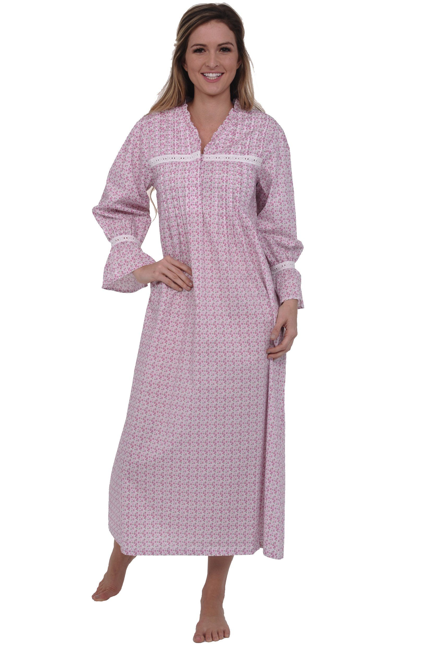 Alexander Del Rossa Women's Romeo and Juliet Bell Sleeve Victorian Nightgown at Amazon Women's Clothing store: White Night Gown