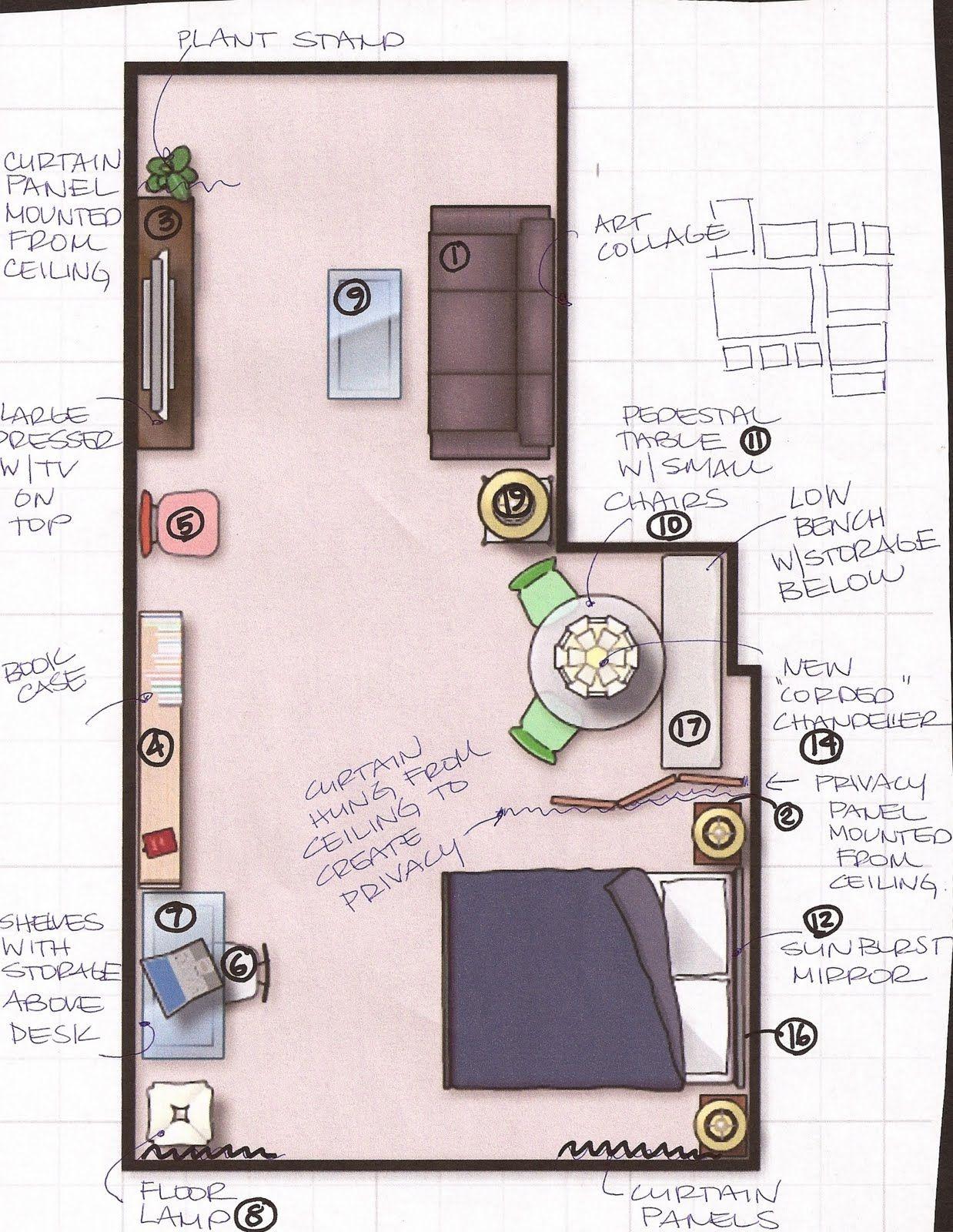 Studio Apartment Furniture Layout