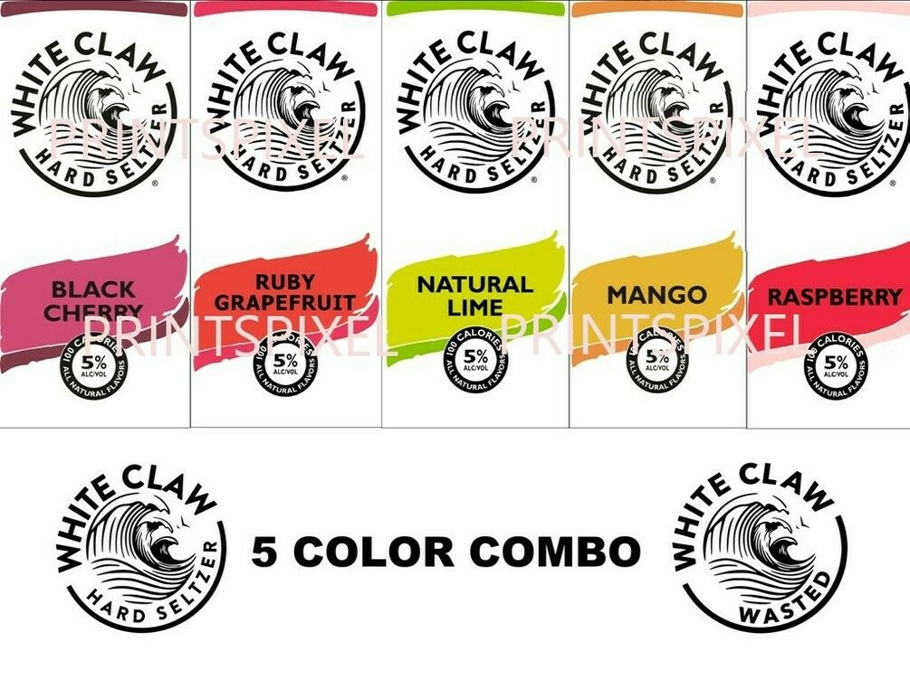 Digital White Claw Hard Seltzer Label Download Files Svg Jpg Png Pdf Combo Of Blackcherry Rubygrapefruit Naturallime Mango And Raspberry White Claw Hard Seltzer Painting Logo Book Pillow