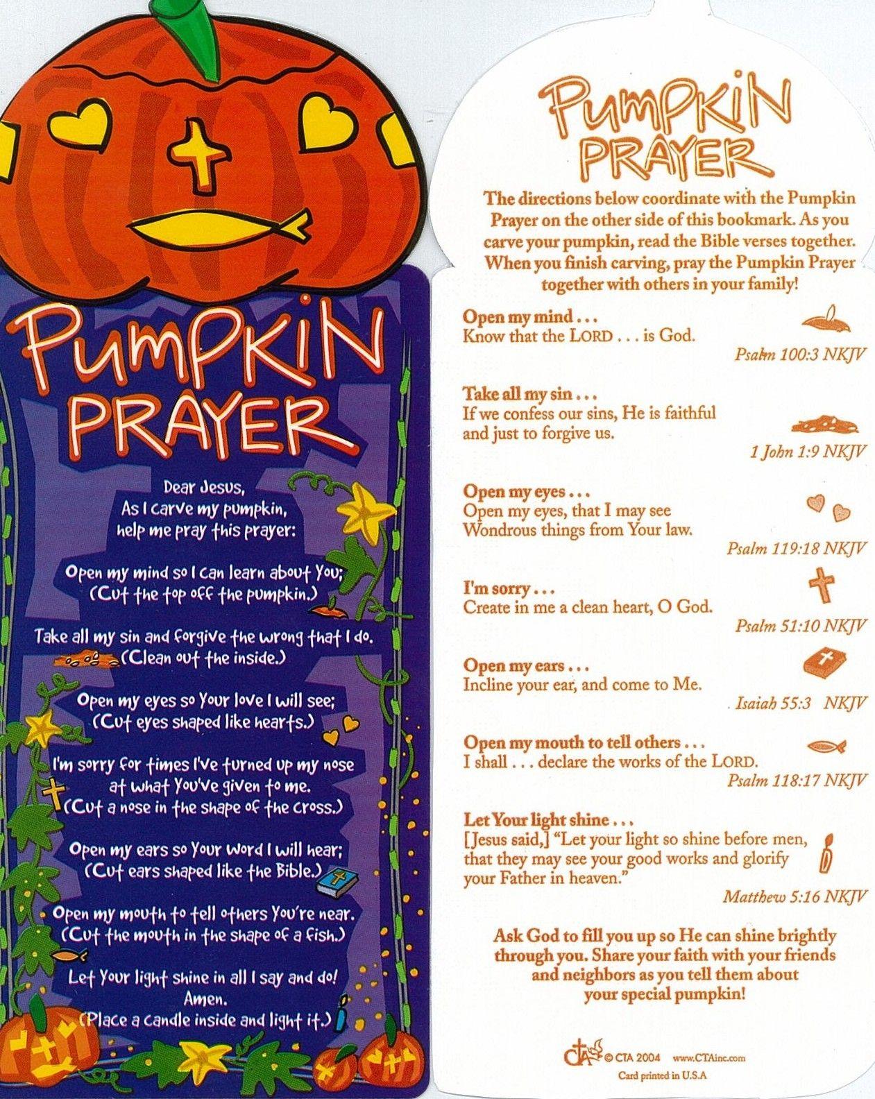 Pumpkin Prayer To Accompany Carving